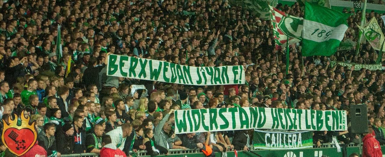 """Transparent beim Werder-Spiel """"Widerstand heißt Leben!"""""""